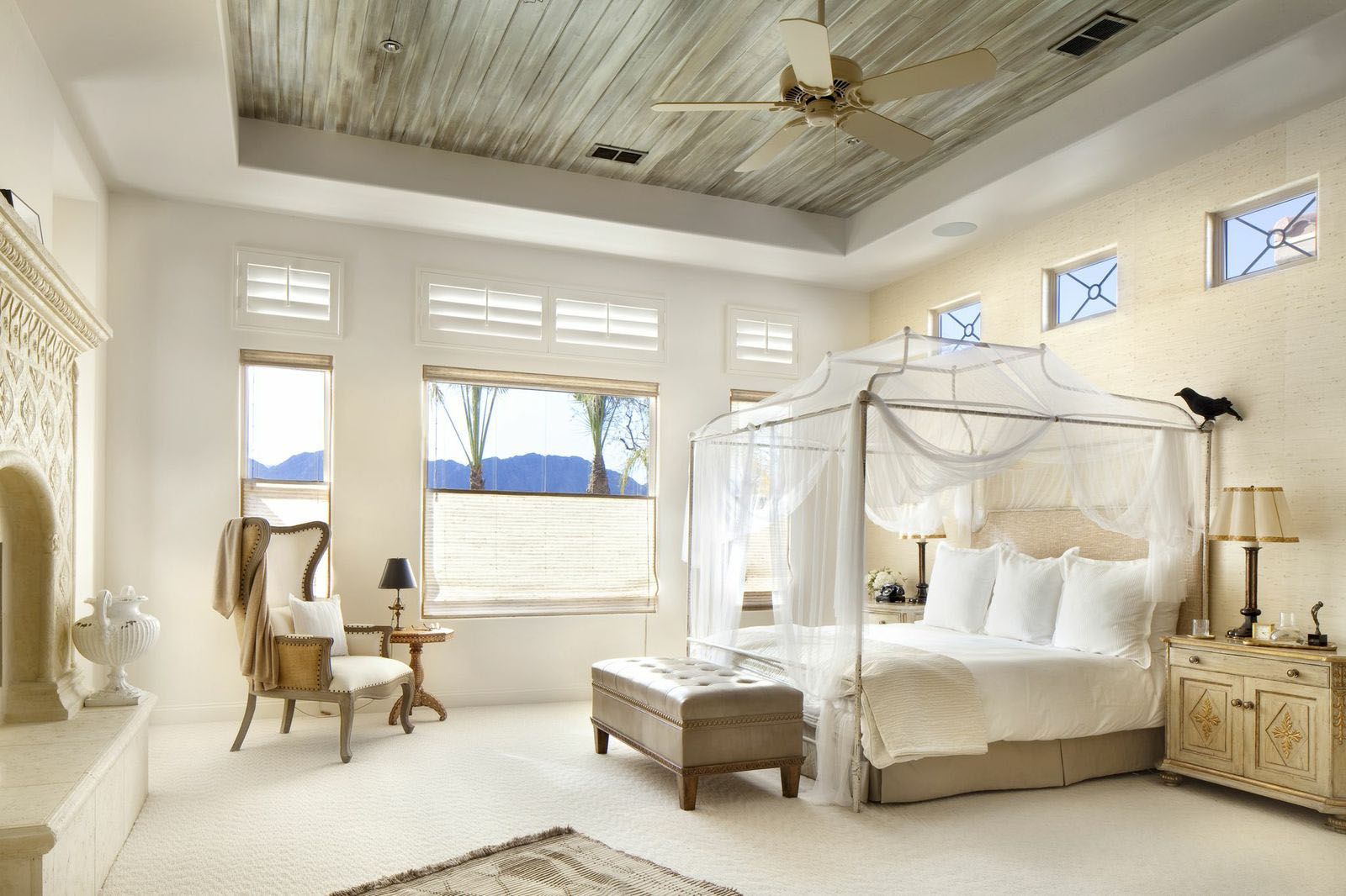 Decorate the Spacious Bedroom with DIY Canopy Bed and Classic Teak Nightstand under Wooden Ceiling