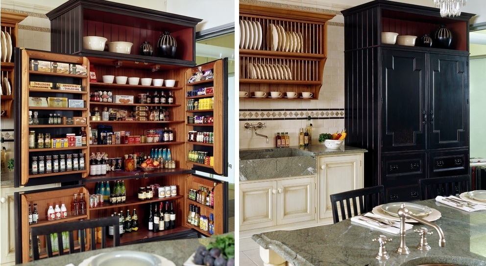 Delicate Concept of Kitchen Pantry Storage With Racks also Four Doors