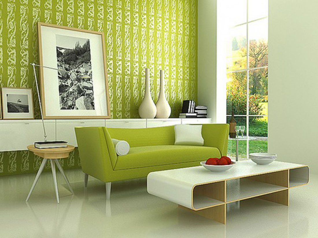 Delicate Interior Living Area Using Green Sofa And Chic Wall Decor
