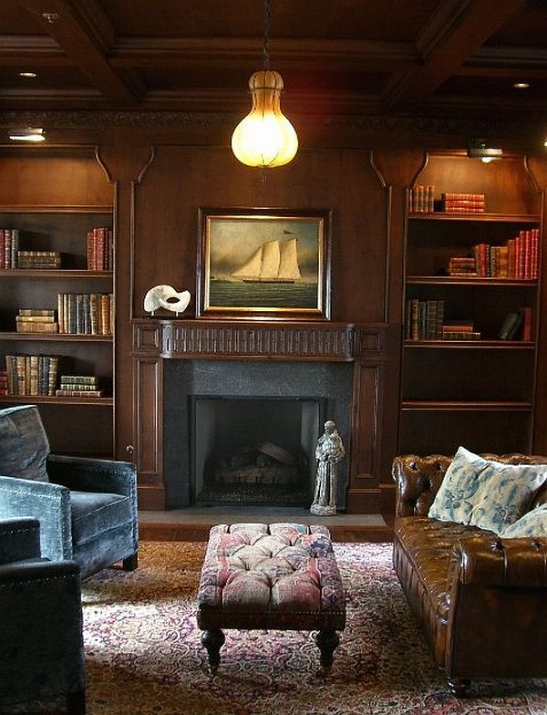 Delicate Interior Living Space Using Fireplace Between Wooden Book Shelves