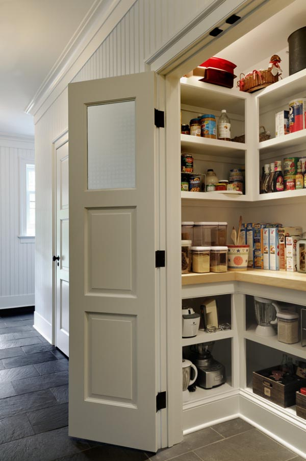 Delightful Design Of High Kitchen Storage with Shelve and Door