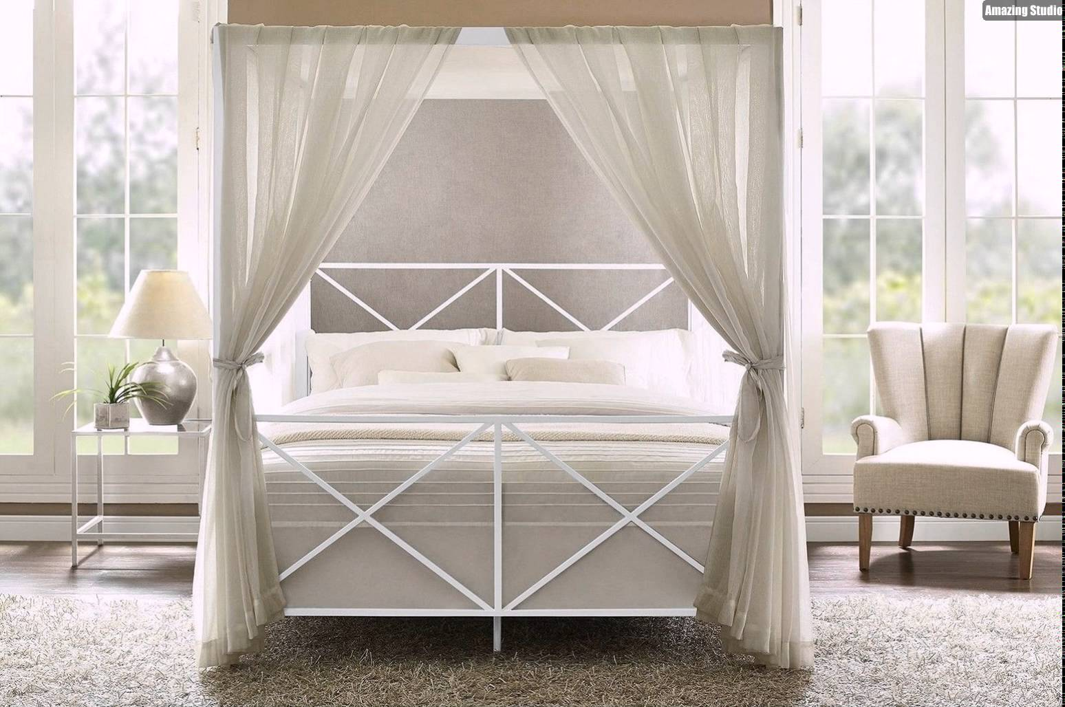 Elegant DIY Canopy Bed for Gorgeous Bedroom with Grey Sheer Curtain beside Cozy Wingchair