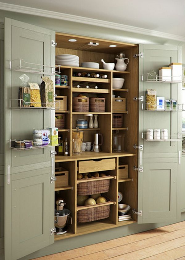 Elegant Kitchen Storage Design Using Rattan Basket also Simple Shelve