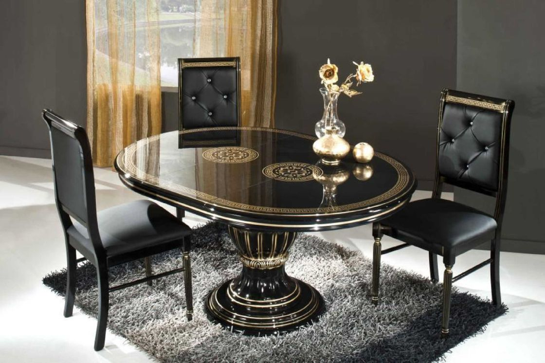 Enchanting Black Tufted Chairs and Artistic Small Dining Tables on Grey Carpet Rug