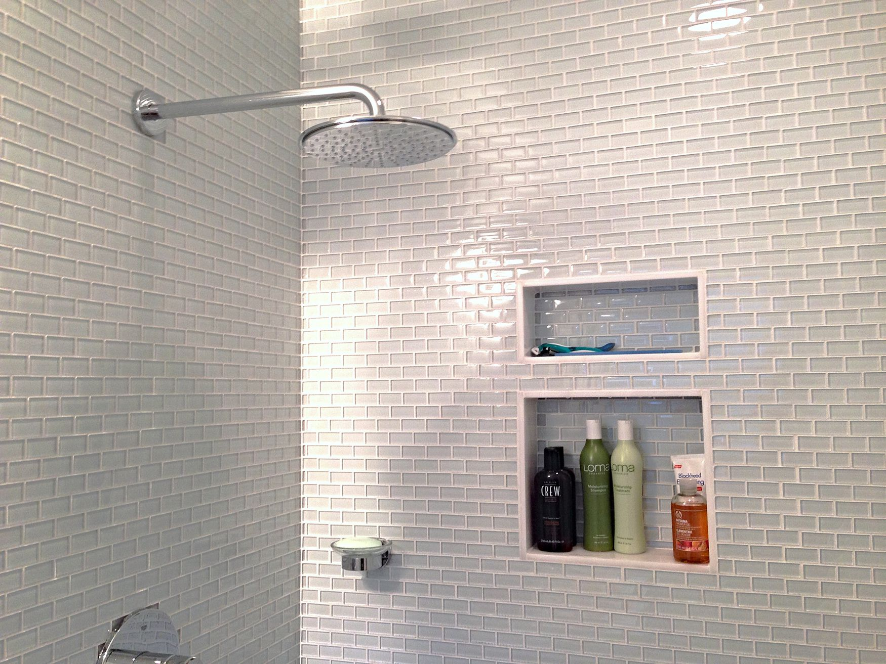 Enchanting Grey Subway Tile Shower For Wide Shower Space With Shower Faucet  And Planted Shelves