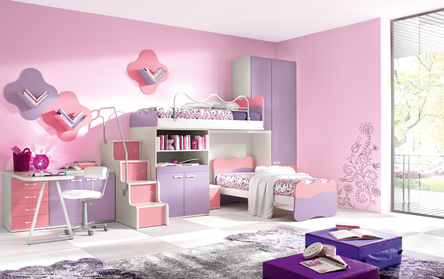 Enchanting Wall Mural Decorating Cute Bedroom Ideas with Lovely Bunk Beds and white Study Desk