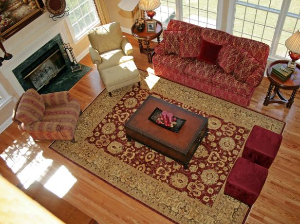 Enticing Living Space Decor With Red Sofa also Arm Chair