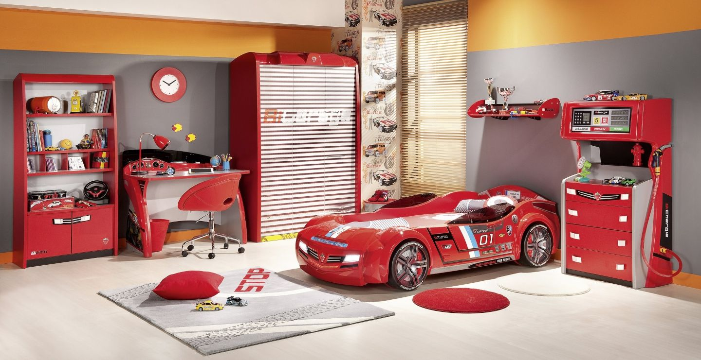 F1 Themed Boys Bedroom Furniture Completing Room with Car Shaped Bed and Garage Shaped Wardrobe Cabinet