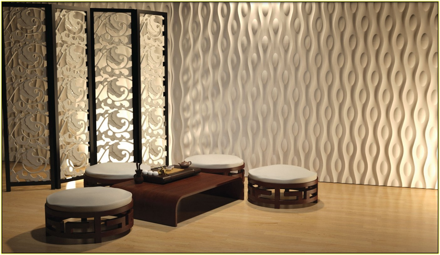 Fabulous Wall Separator and Awesome Decorative Wall Panels in Japanese  Themed Room with Round Ottomans