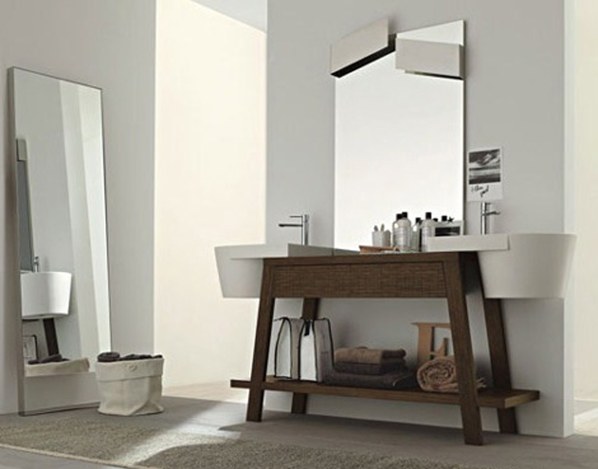 Fabulous White Sinks and Small Oak Bathroom Vanity for Cozy Bathroom with Grey Flooring