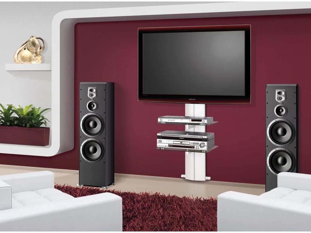 Fabulous White Sofas On Wide Carpet Rug Facing Stylish Wall Mount Tv Stand Inside Modern Room