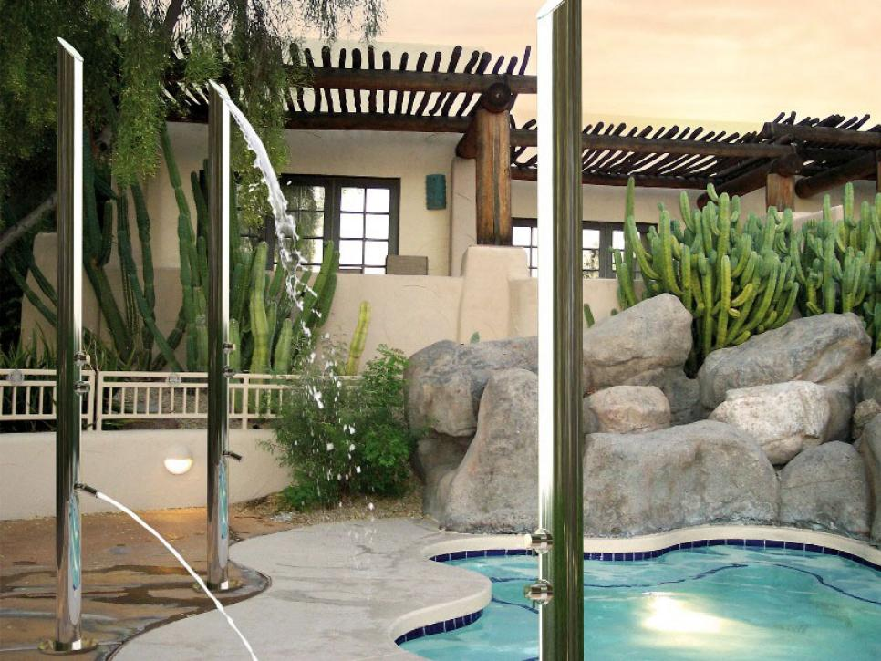 Fantastic Backyard With Neat Outdoor Shower Enclosure also Small Pool
