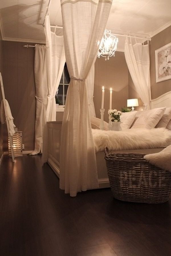 Fantastic Bedroom Decor With Princess Canopy Bed also Fabric Curtain