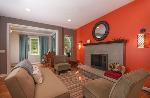 Fantastic Living Space Using Sofa and Fireplace also Orange Background