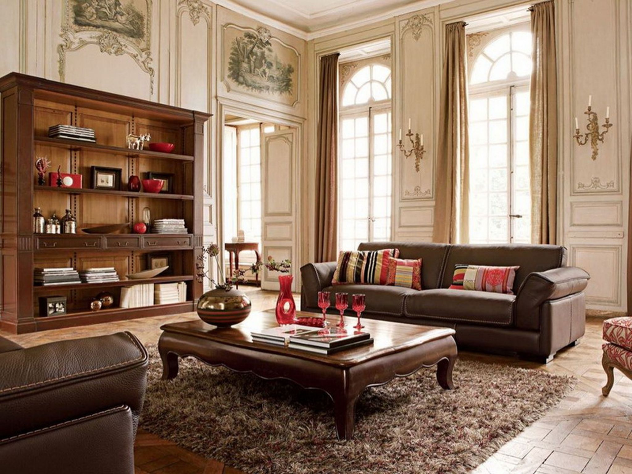 Fantastic Wooden Shelve and Leather Sofa For Rustic Living Area