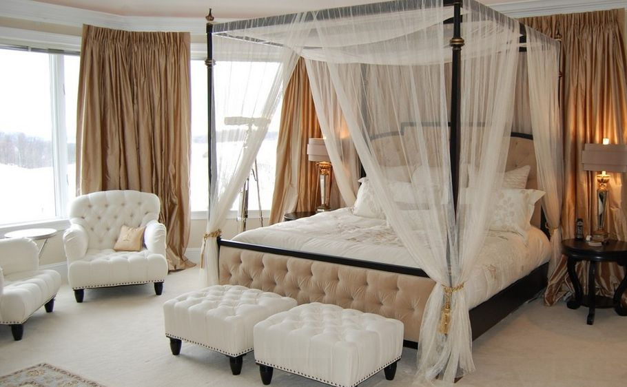 Fascinating Bed with Canopy also Two Tufted Benches plus Arm Chair