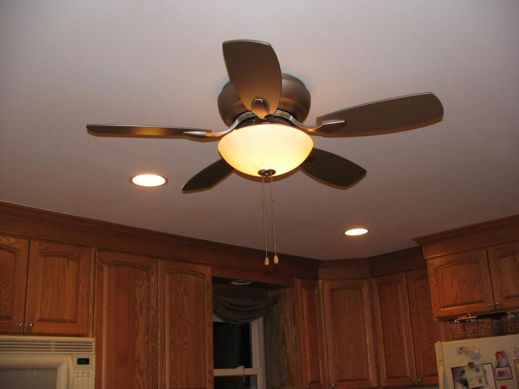 Fascinating Bladeless Ceiling Fan for Old Fashioned Kitchen with Wooden Cabinets and White Ceiling