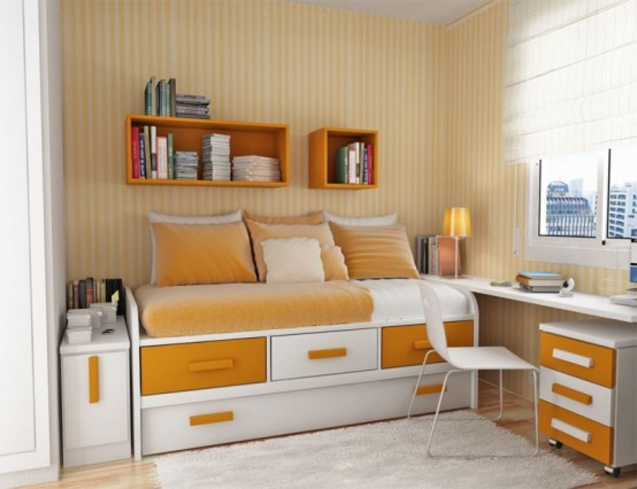 Fascinating Brown and White Boys Bedroom Furniture Completing Small Area with Floating Bookshelves
