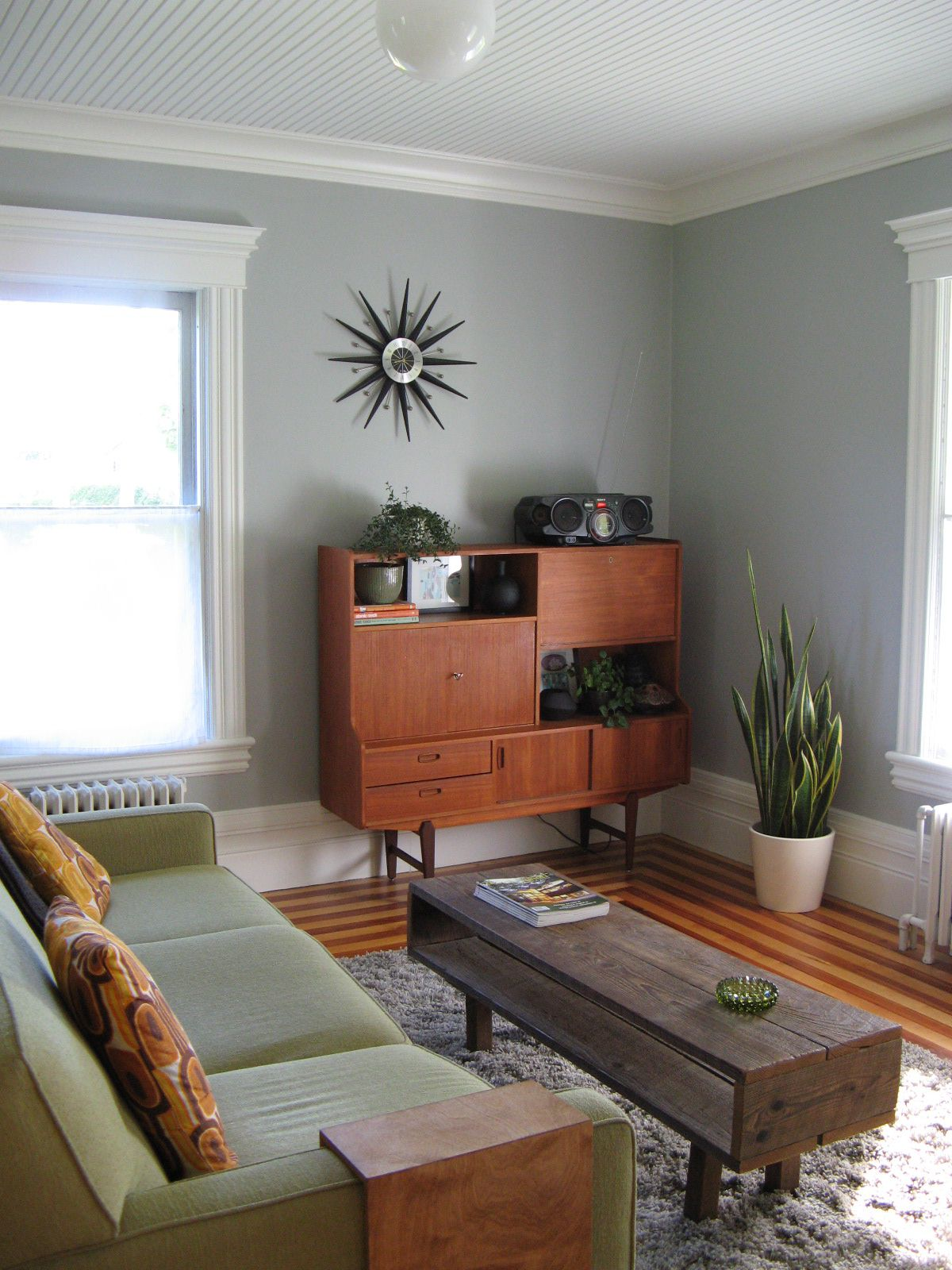 Fascinating Furniture Decor with Wooden Storage in Small Living Room close Dust Wall