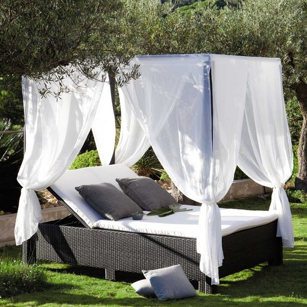 Fascinating Green Tree for Outdoor Daybed With Canopy and Chalk Fabric and Dark Color