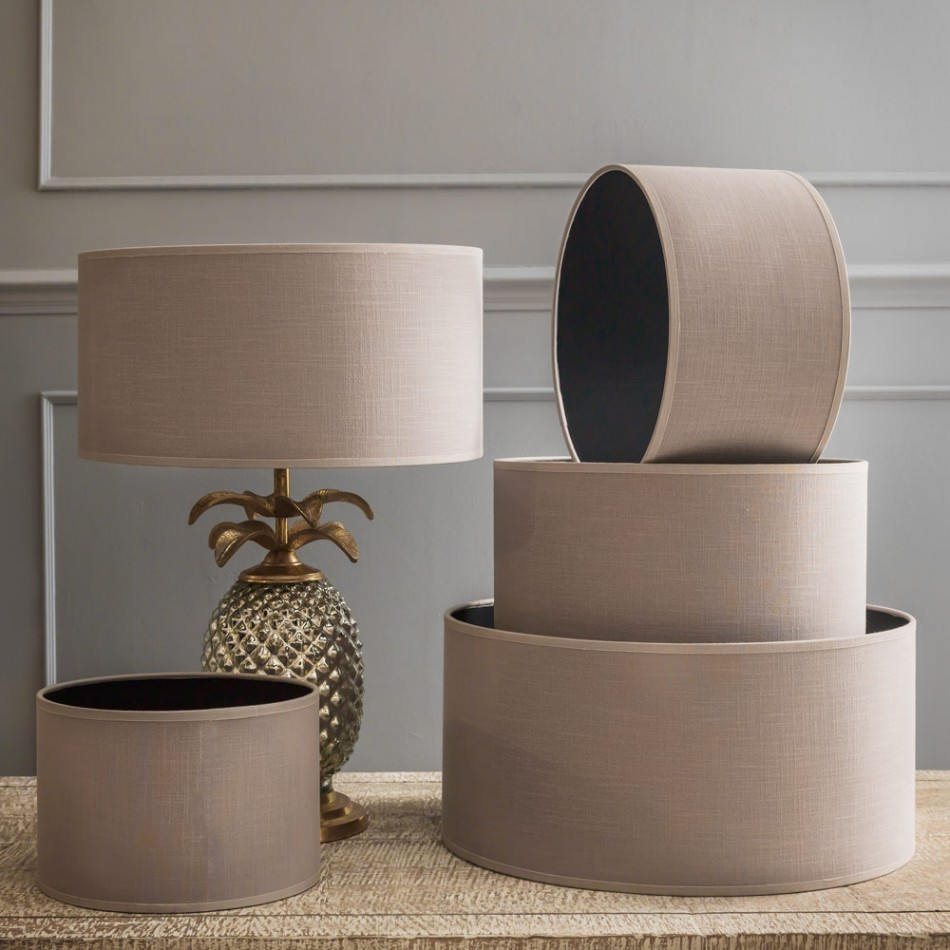 Fascinating Grey Drum Lamp Shades and Gorgeous Handle for Table Lamp on Cream Table