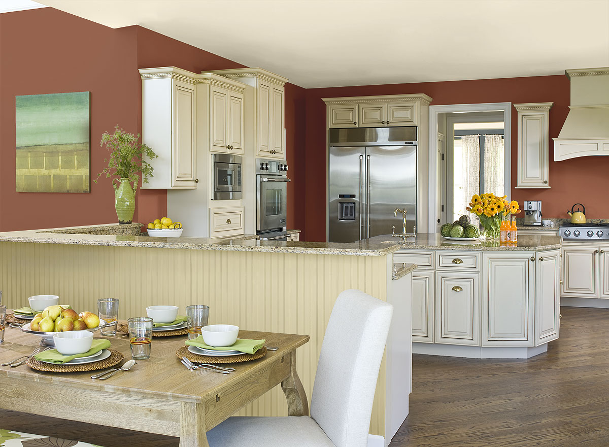Tips for kitchen color ideas midcityeast for Kitchen ideas white cabinets red walls