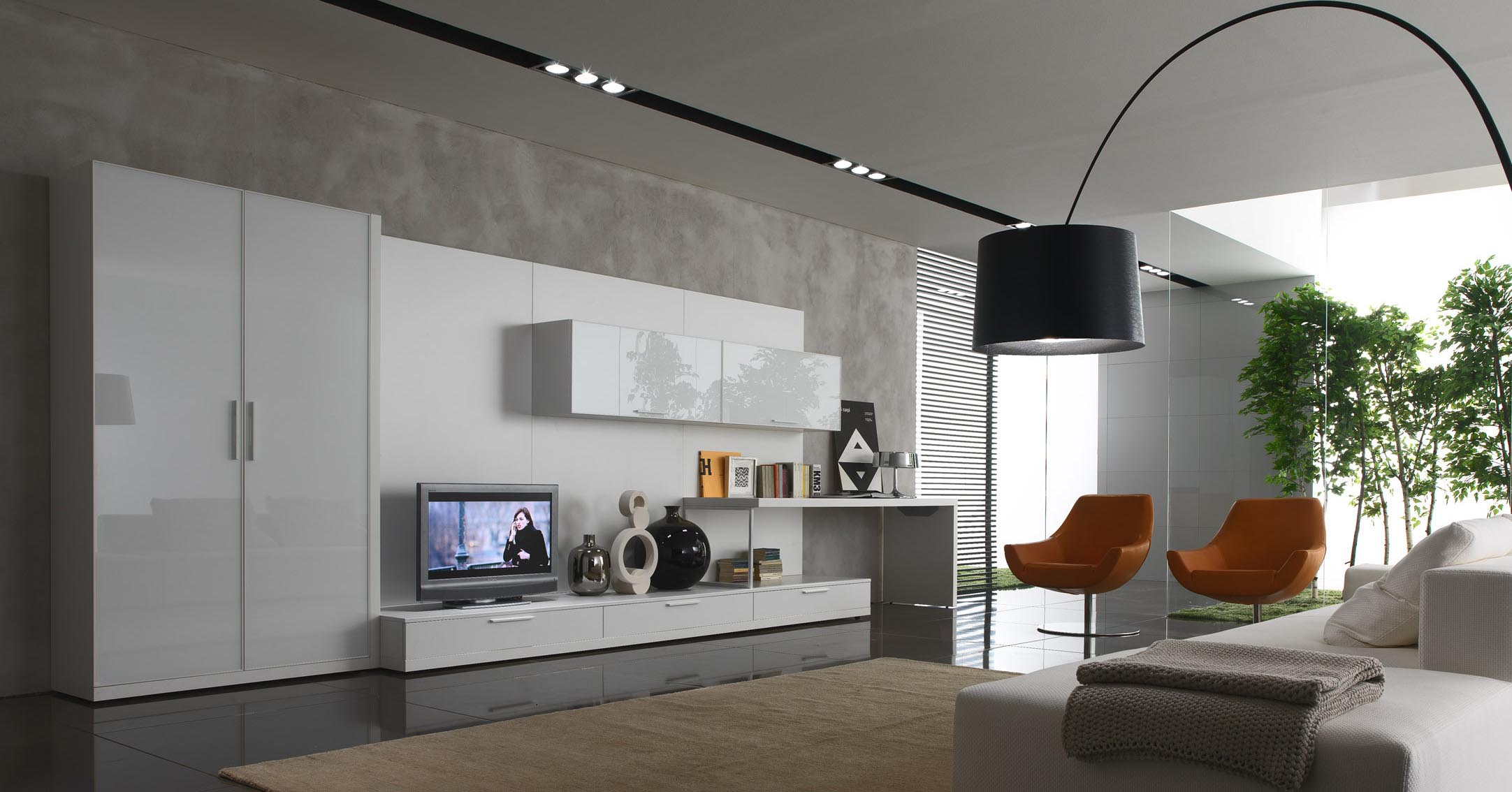 Fascinating Orange Chairs and White Chaise Placed in Contemporary Living Room with Black Arc Lamp