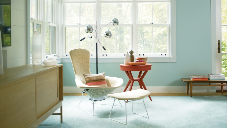 Fascinating Sitting Space using Calm Interior Paint Colors near Cozy Chair and Round Side Table