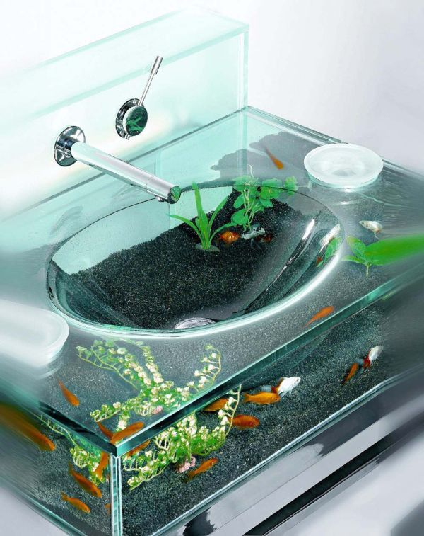 Fascinating Vanity Design with Cute Aquarium Decor and Modern Sink