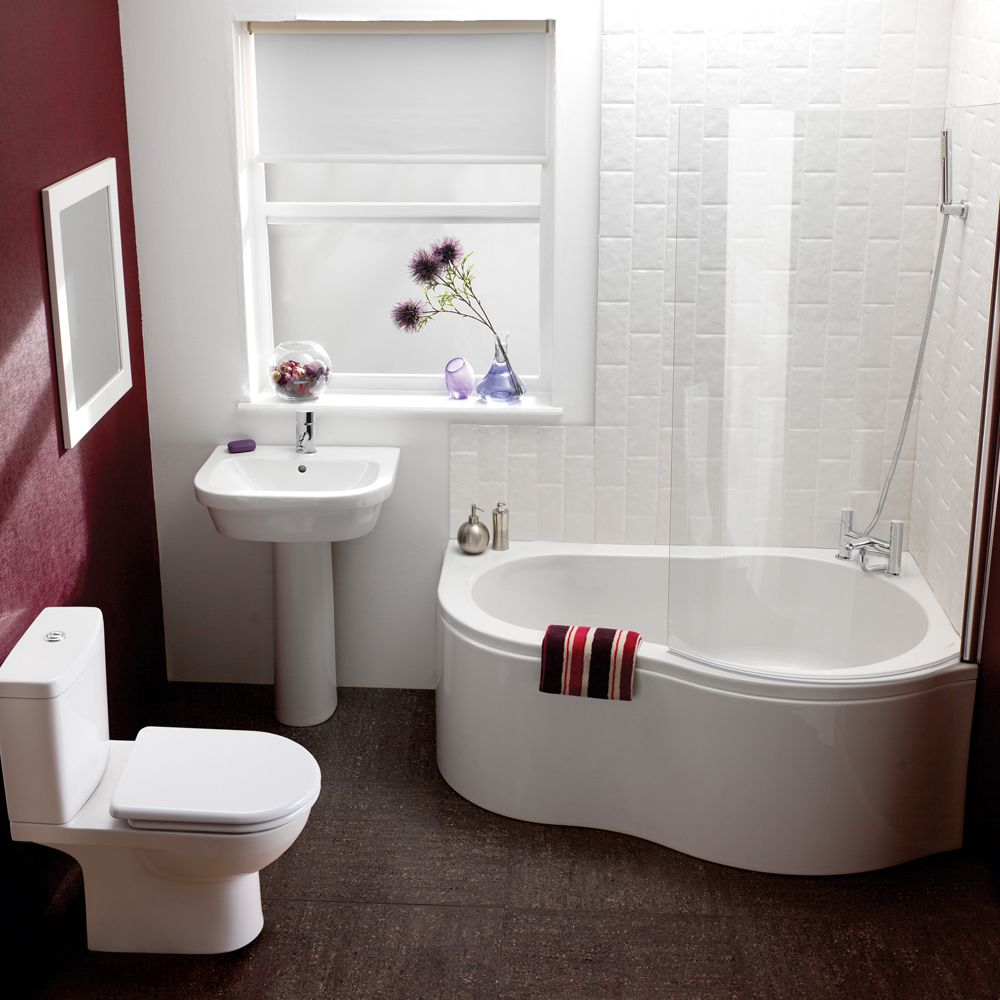 Fascinating White Pedestal Sink Storage inTiny Bathroom with Clean Corner Bathtub on Brown Flooring