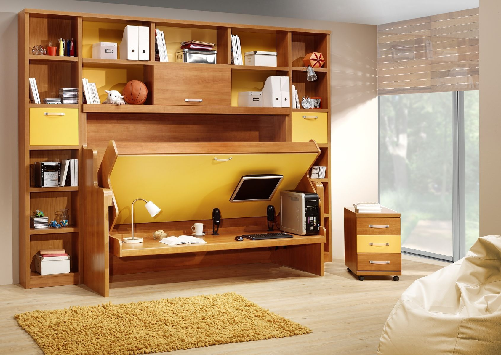 Fascinating Wooden Bookshelves and Reversible Furniture for Small Spaces Completing Cozy Bedroom with Oak Flooring
