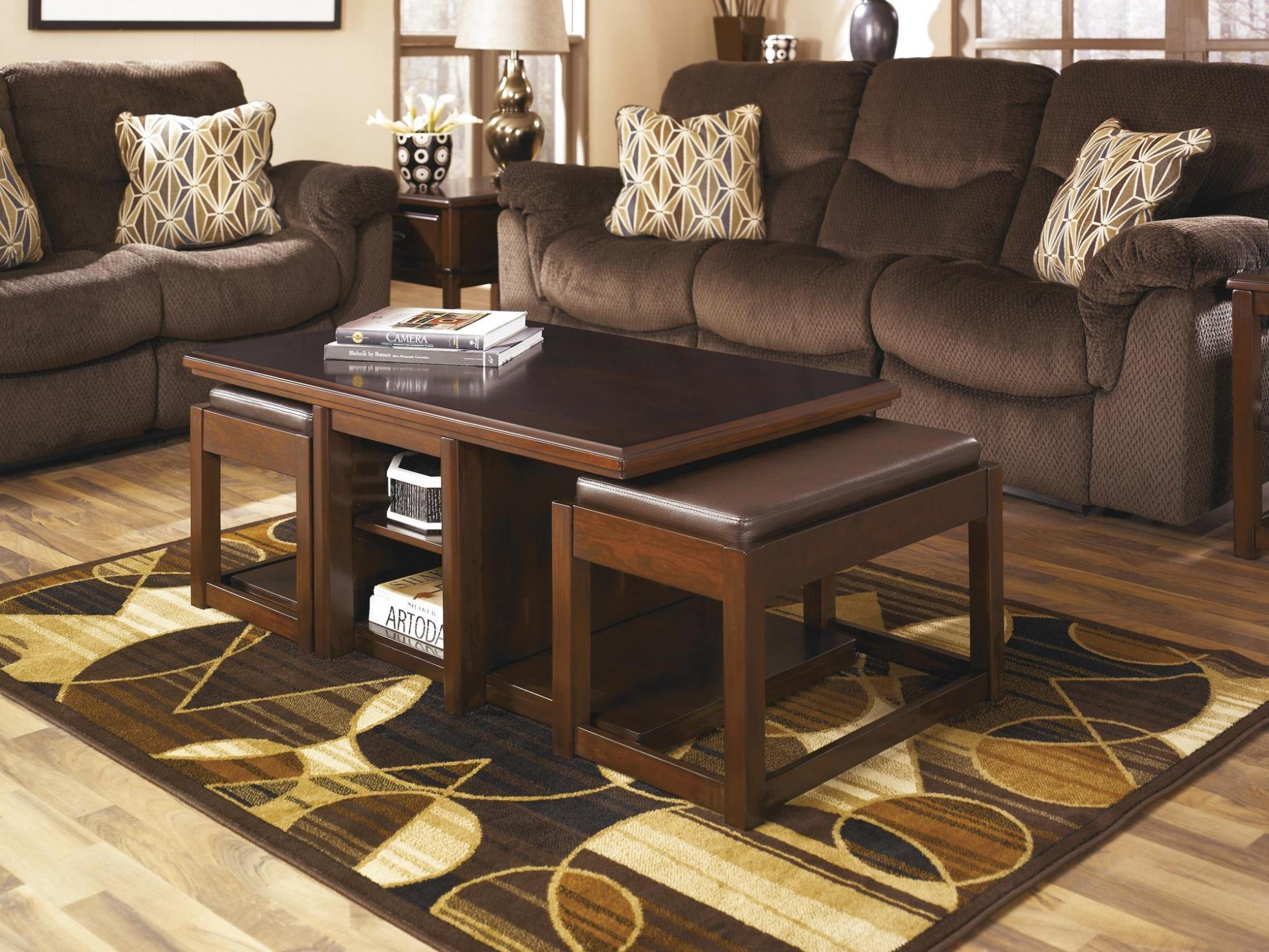 Fill Contemporary Living Room with Wooden Coffee Table with Stools and Fluffy Sofas on Hardwood Flooring