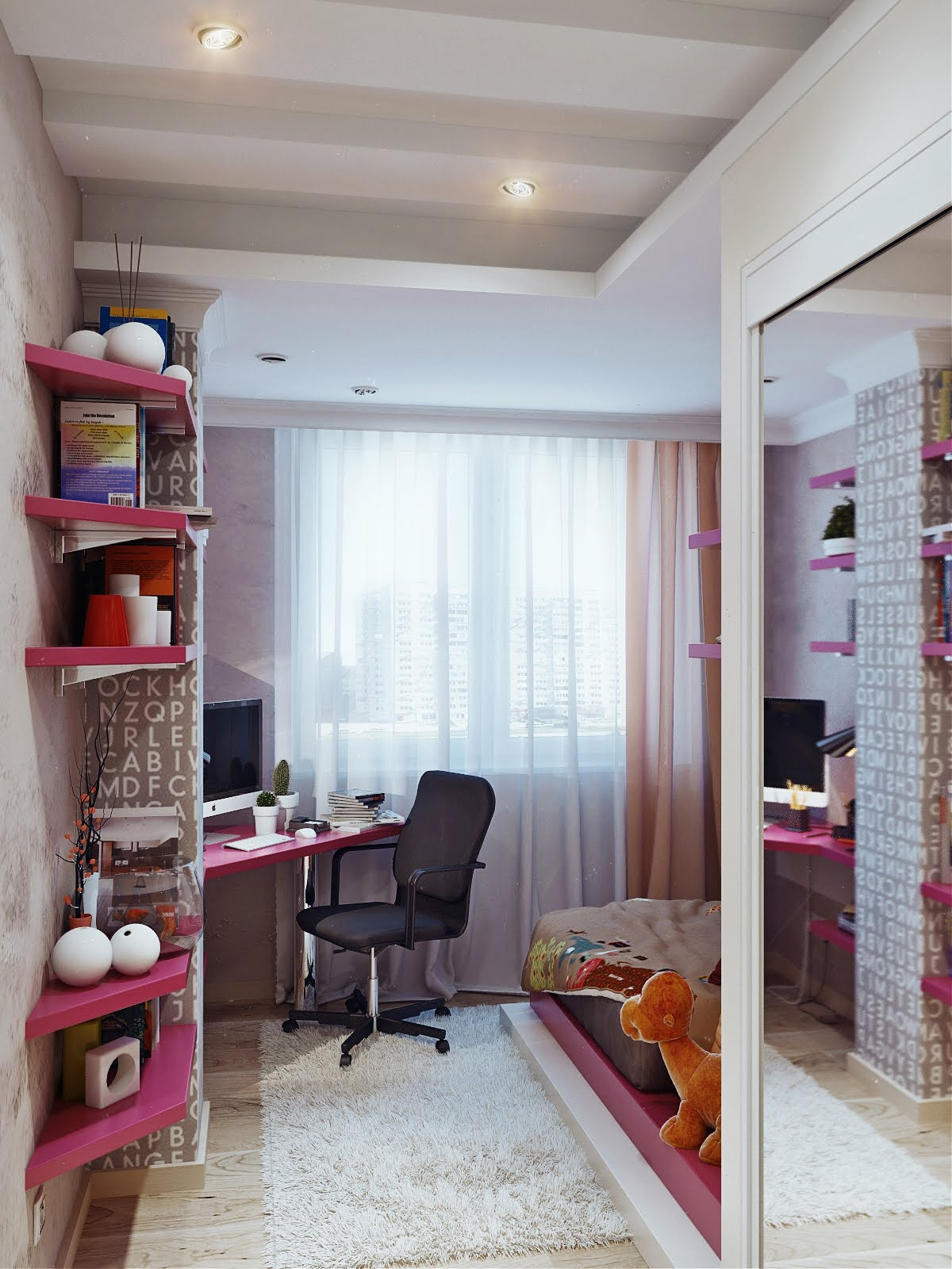 Merveilleux Fill Small Area Using Cozy Teen Girl Room Ideas With Corner Computer Desk  And Pink Wall