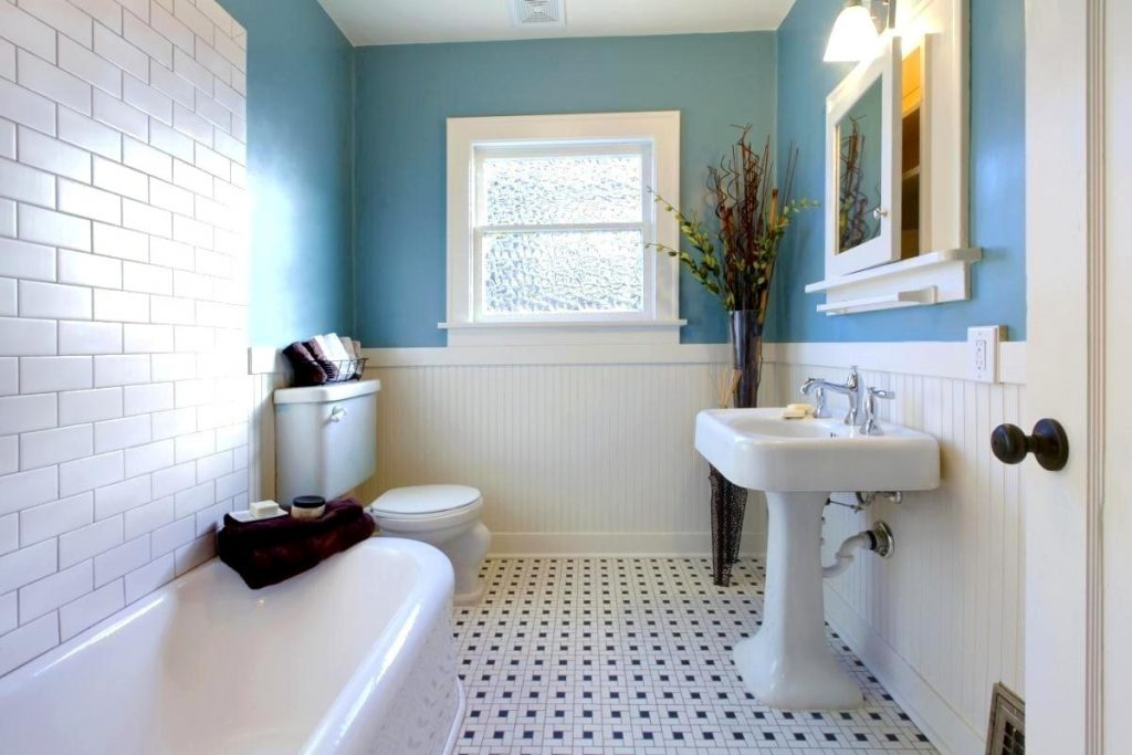 Fill Small Room with White Pedestal Sink and Bathtub on Interesting Subway Tile Bathroom Flooring
