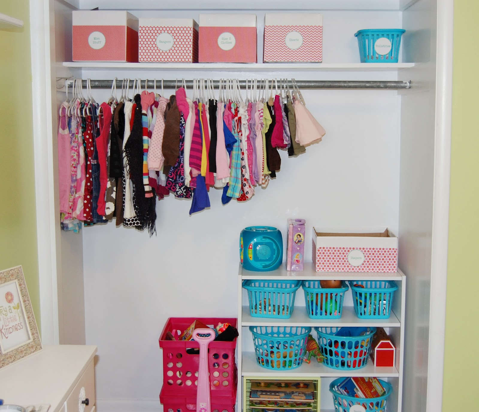 Fill Small Space using Brilliant Closet Organizer Ideas with High Clothes Hanger and White Toys Shelves