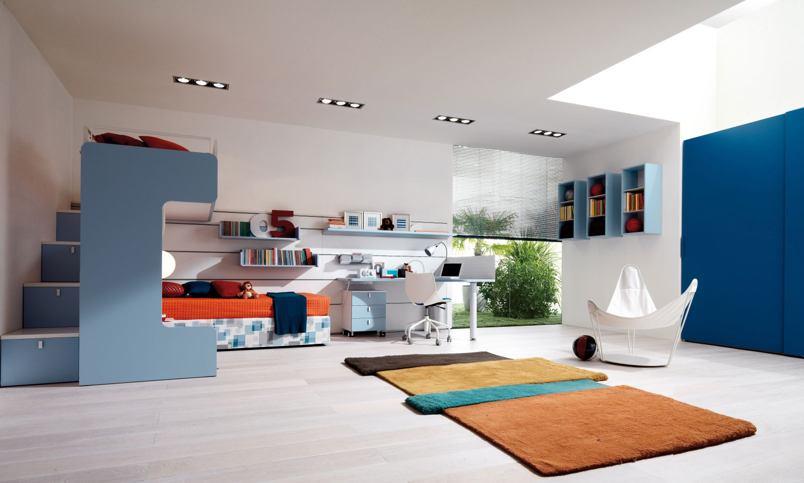 Fill Spacious Kids Bedroom with Stunning Kids Beds with Storage and Stylish Desk near Swivel Chair