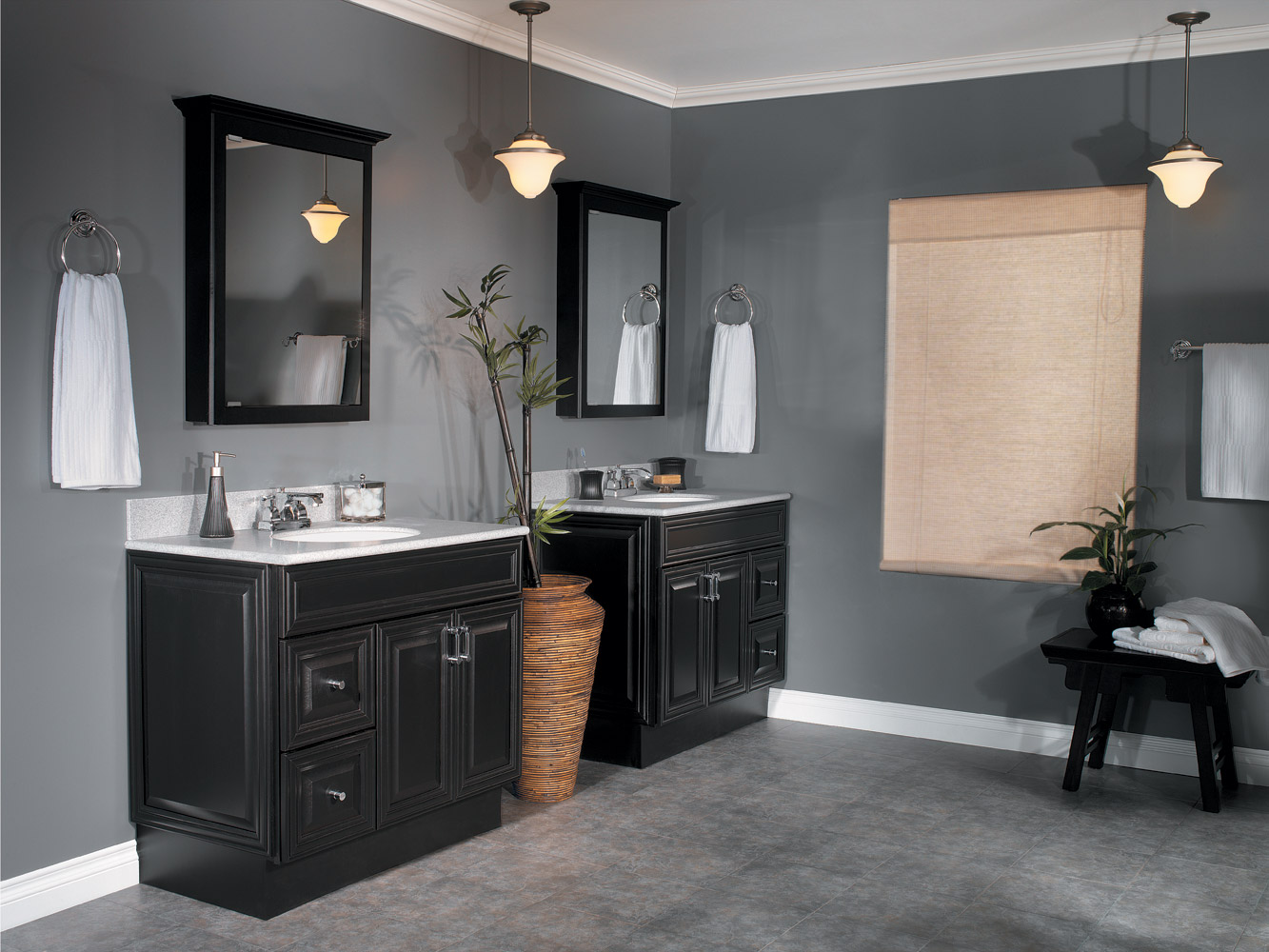 Attirant Fill Traditional Room With Dark Oak Bathroom Vanity Ideas And White Top  Beside Grey Painted Wall