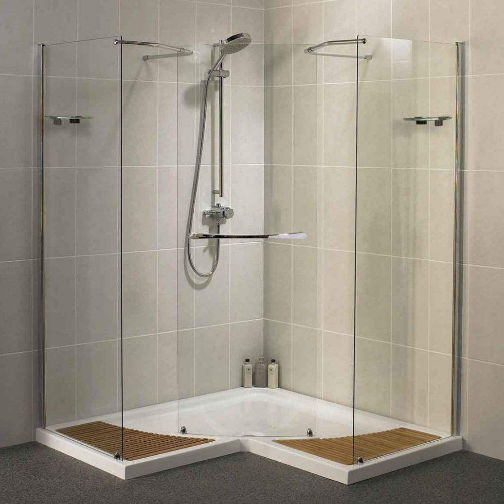 Fill the Bathroom Corner using Brilliant Bathroom Shower Ideas with Glass Panel and White Flooring