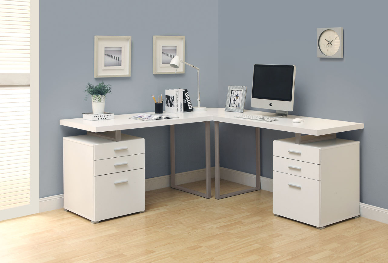 Fill the Corner with Modern White Computer Desk and Document Cabinets on Laminate Oak Flooring