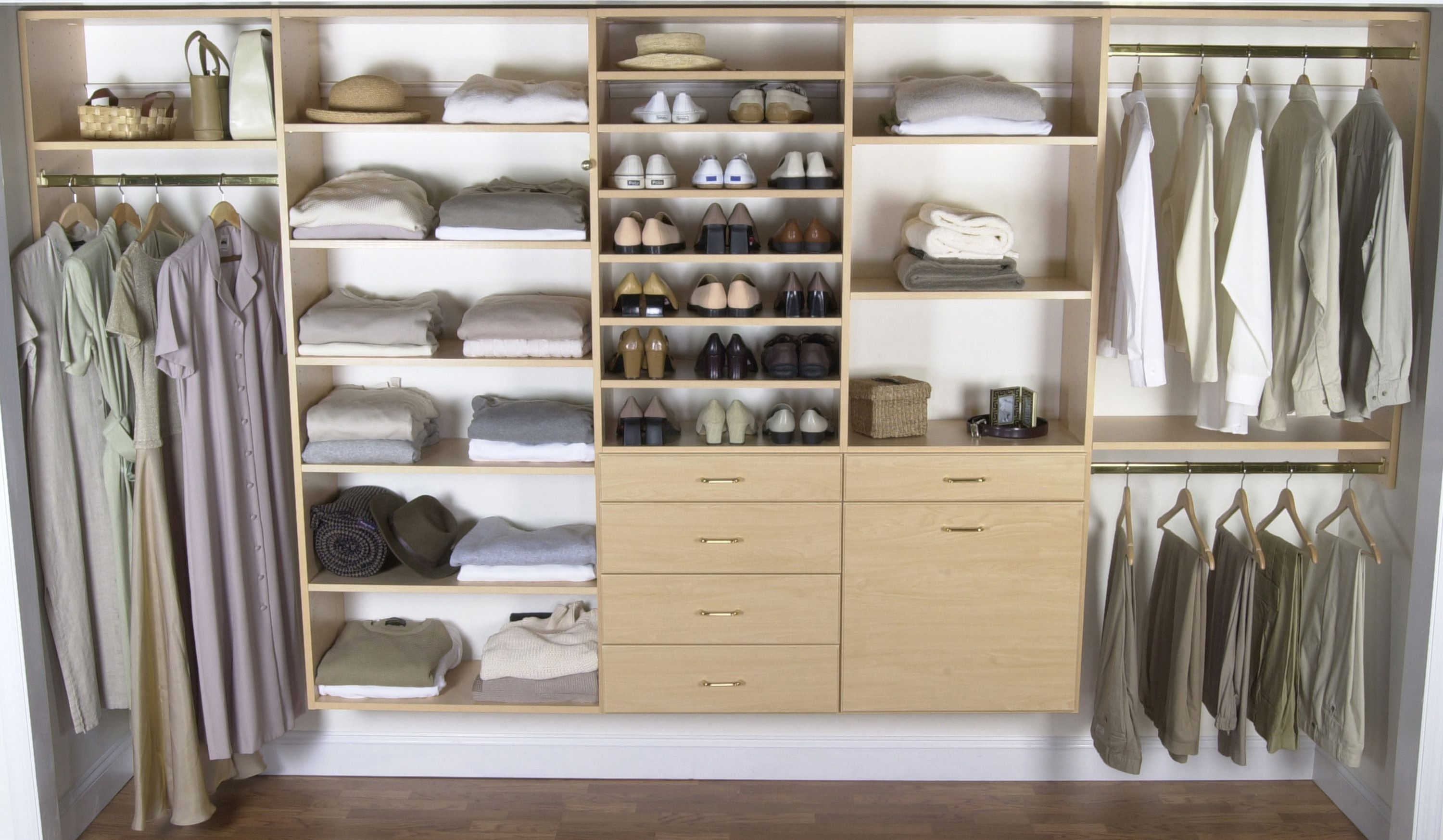 Fill the Walk In Closet with Brilliant Closet Design Ideas using Shoes Shelves and Floating Drawers
