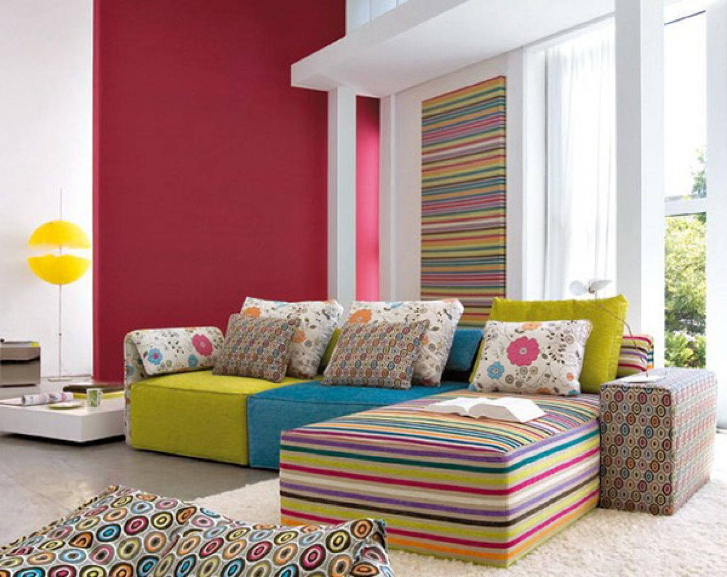 Flowery Cushions on Colorful Sectional Sofa as Appealing Living Room Color Schemes on White Carpet Flooring