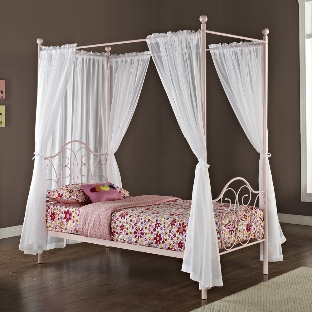 Flowery Pink Bedding and White Curtain Completing Classic Metal Girls Canopy Bed on Laminate Oak Flooring