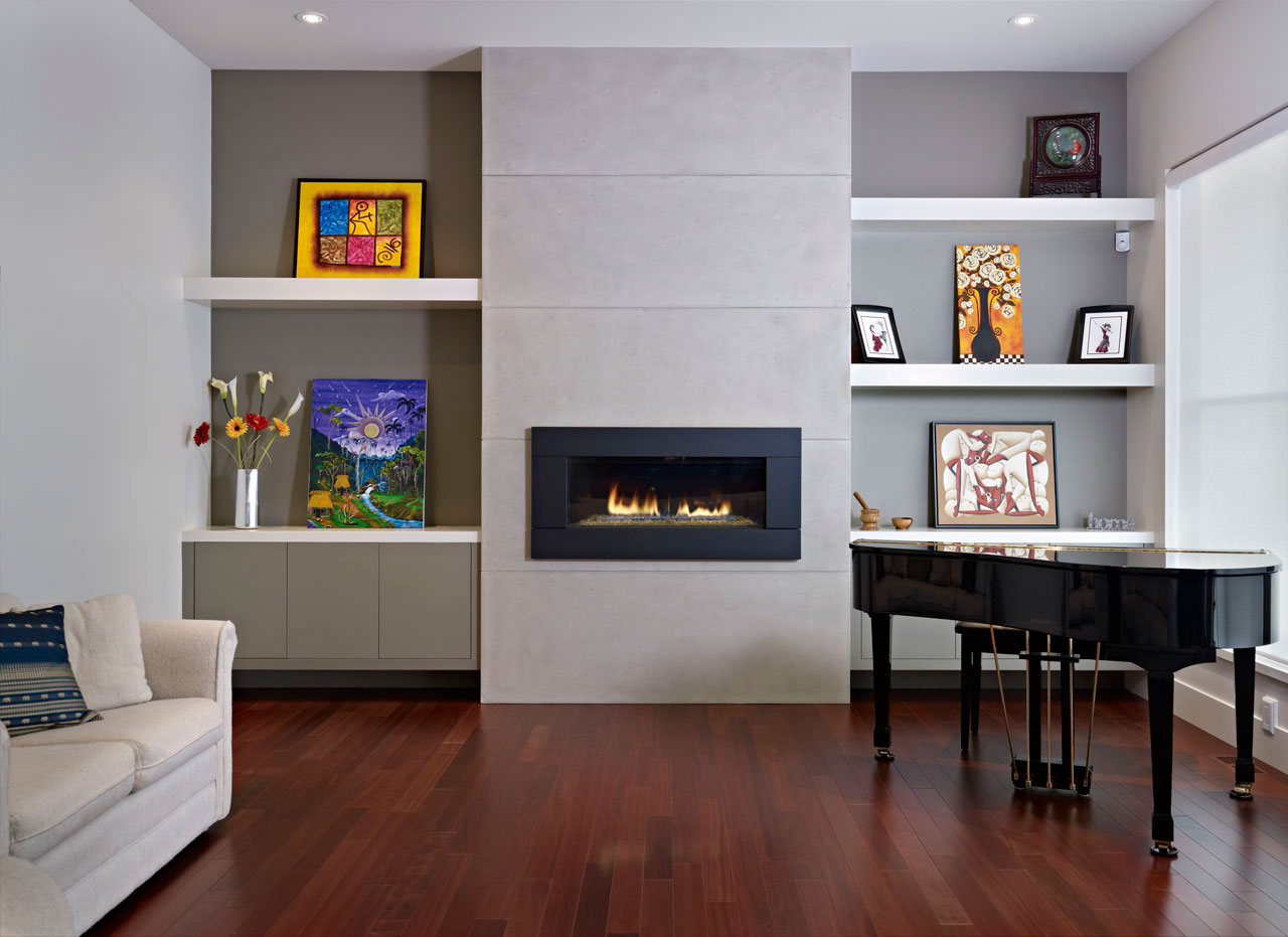 Fluffy White Sofa and Black Piano in Cozy Room with White Floating Wall Shelves and Stylish Fireplace