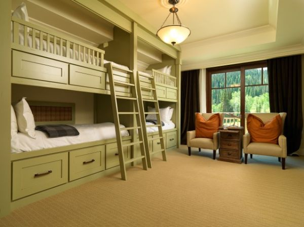 Fresh Green Color Accent in Best Furniture with Big Double Bunk Beds Picture