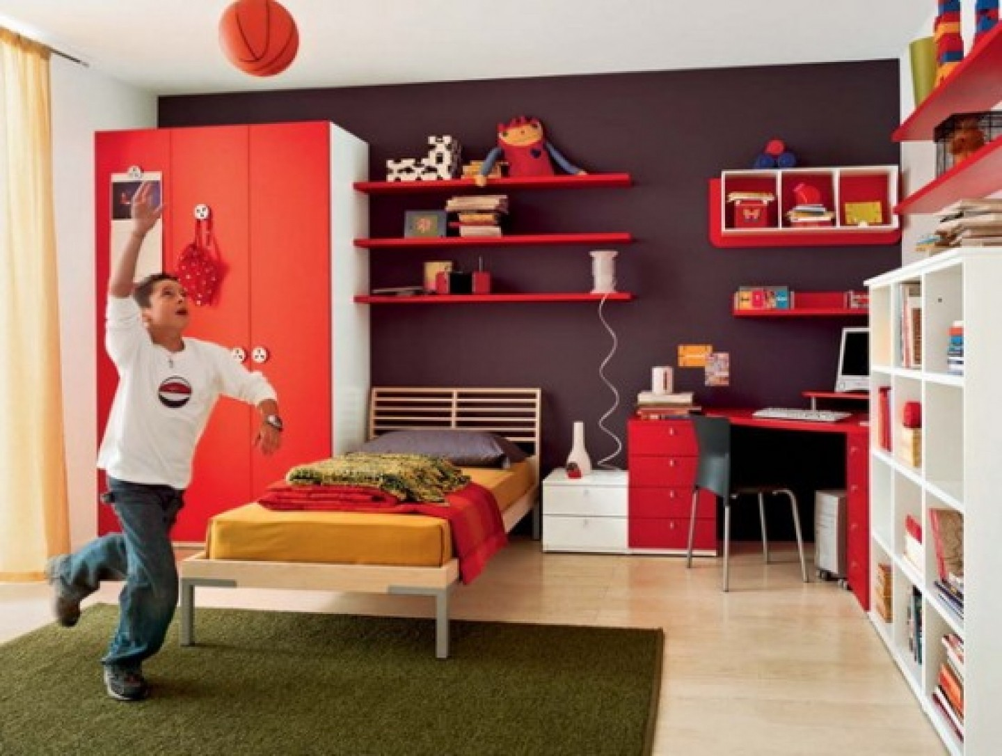 Fun Teen Girl Room Ideas with Red Wardrobe Cabinet and Single Bed near Red Computer Desk