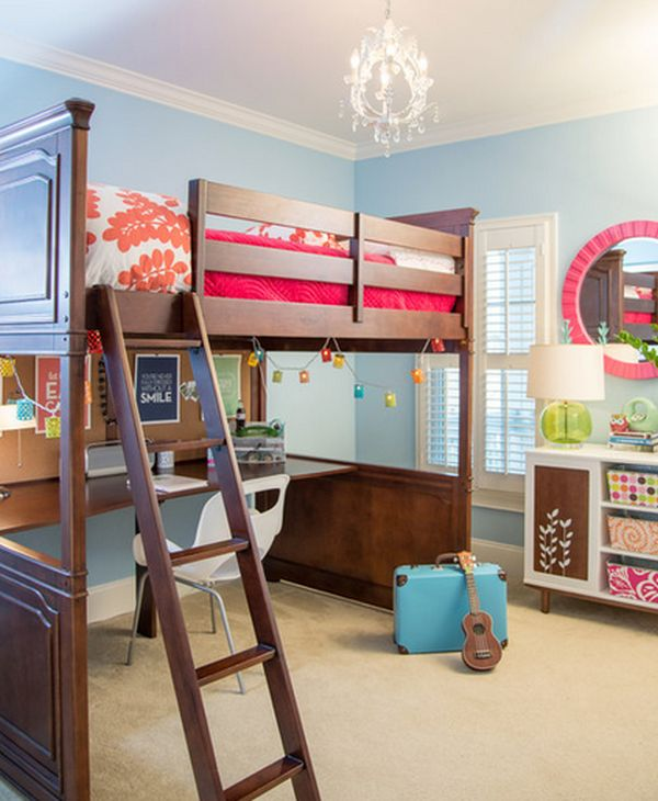 Funny Accessory Decor for Double Bunk Beds with Colorfull Accent and Circle Mirror