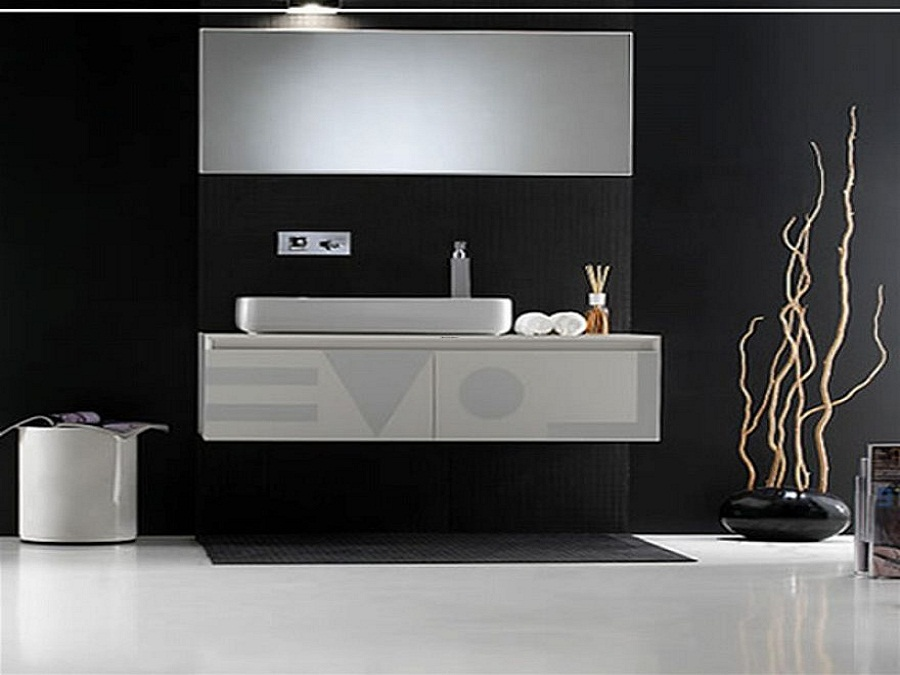 Futuristic Bathroom using Floating Bathroom Sink Cabinets and Clear Mirror on Black Painted Wall