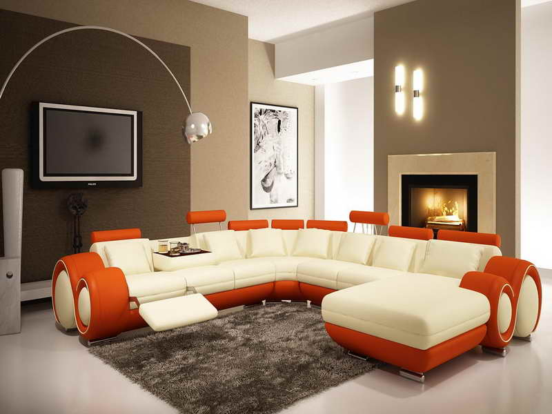 Futuristic Sectional Sofa and Glossy Arc Lamps Placed in Modern Living Room with Fabulous Accent Wall Ideas