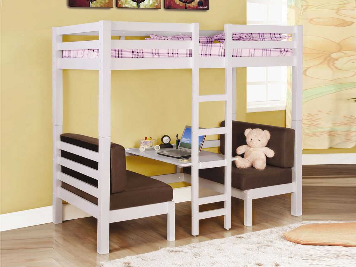 Girl Bunk Beds with Brown Sofa Ideas