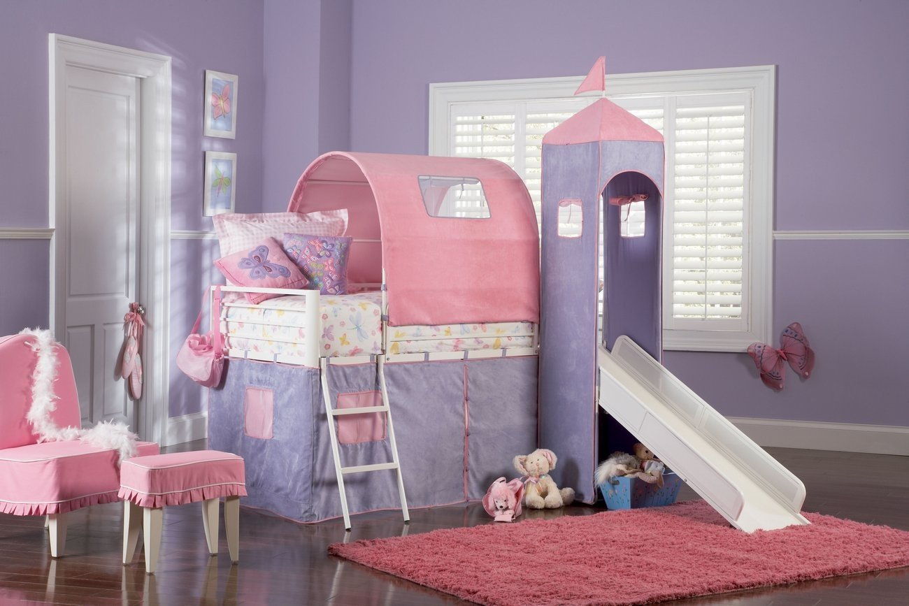 Girl Bunk Beds with Stairs Slide Design